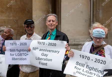 Veterans from the London Gay Liberation Front 1970-74 including Peter Tatchell, march from Portland Place to Parliament Square, to mark 50 years since their first meeting held at the London School of Economics.
