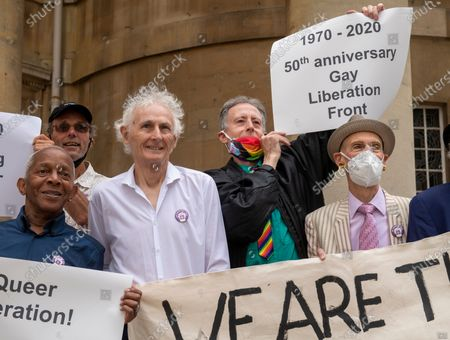Stock Picture of Veterans from the London Gay Liberation Front 1970-74 including Peter Tatchell, march from Portland Place to Parliament Square, to mark 50 years since their first meeting held at the London School of Economics.