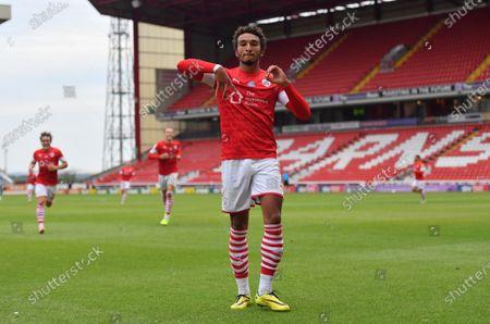 Barnsley's Jacob Brown celebrates his goal.