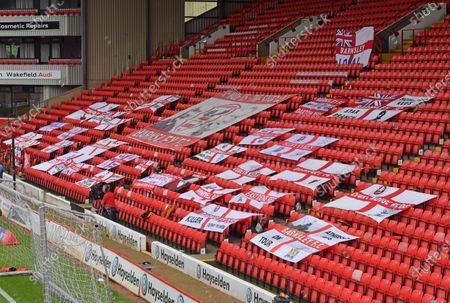 Barnsley flags in the Pontefract road stand.