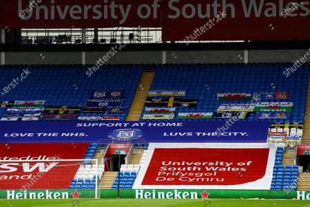 Cardiff flags are seen in the stands.