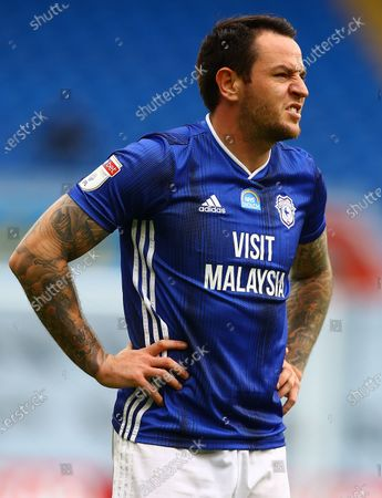 Stock Image of Lee Tomlin of Cardiff City shows a look of frustration