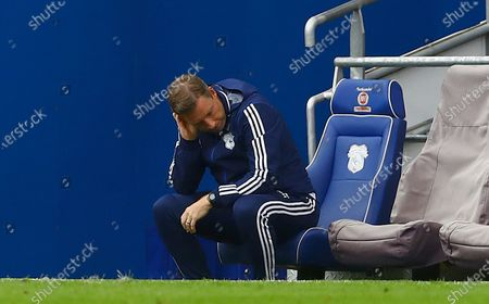 Cardiff City manager Neil Harris shows a look of frustration