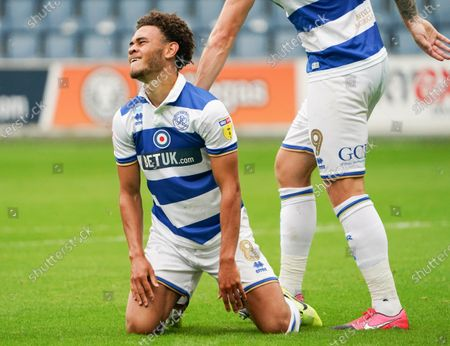 Luke Amos of QPR after missing a golden chance on goal