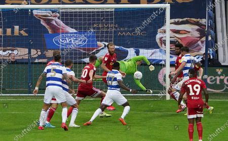 Goalkeeper Marek Rodak of Fulham makes a brilliant save