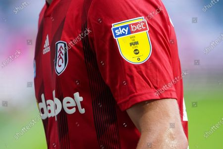 The Sky Bet logo on the sleeve of the Fulham shirt