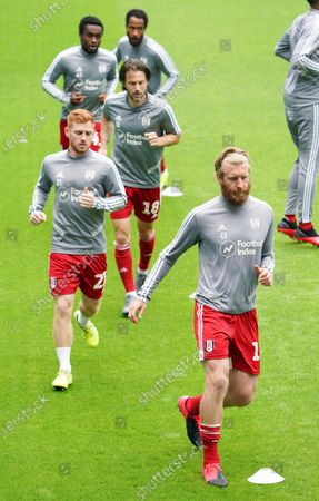 Tim Ream and Harrison Reed of Fulham during the warm up