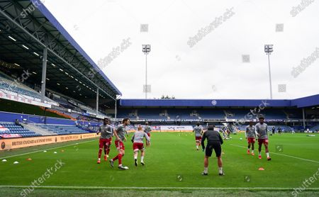 The Fulham team, inside Loftus Road during the warm up