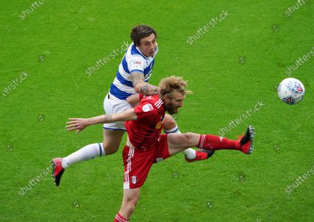 Jordan Hugill of QPR  scores the opening goal from a header above Tim Ream of Fulham