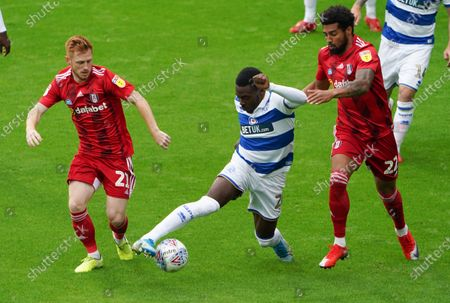 Bright Osayi-Samuel of QPR inbetween Harrison Reed and Cyrus Christie of Fulham