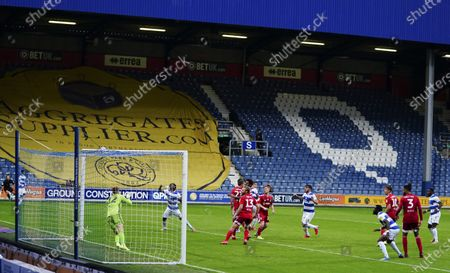 Ryan Manning of QPR heads against the bar in the 87th minute at 2-1 down