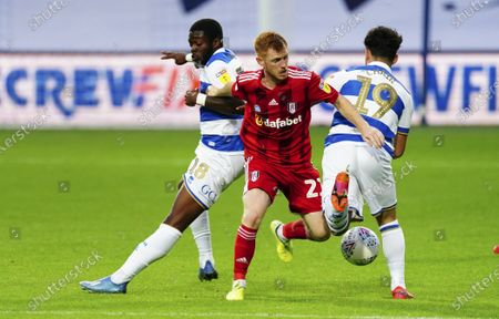 Harrison Reed of Fulham battles with Aramide Oteh, left, and Ilias Chair of QPR