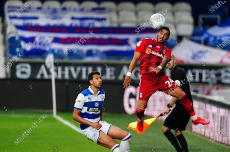 Anthony Knockaert of Fulham heads the ball watched by Yoann Barbet of QPR