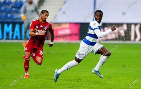 Anthony Knockaert of Fulham chases Bright Osayi-Samuel of QPR