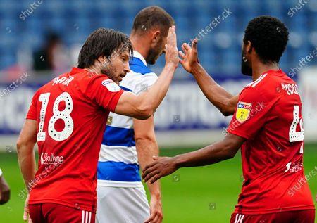 Harry Arter of Fulham celebrates scoring a goal with Denis Odoi, 1-1