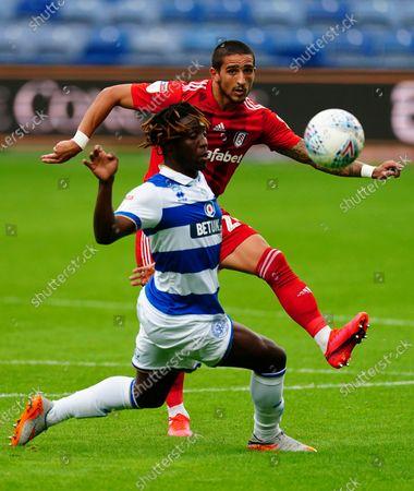 Anthony Knockaert of Fulham battles with Osman Kakay of QPR