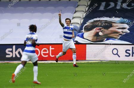 Jordan Hugill of QPR celebrates scoring a goal 1-0