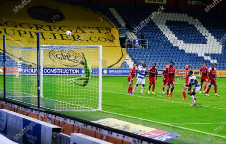 Olamide Shodipo of QPR looks on as a late shot goes over