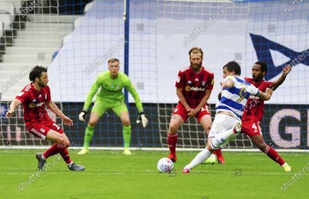 Jordan Hugill of QPR had this goal bound effort well saved by Goalkeeper Marek Rodak of Fulham at 1-1