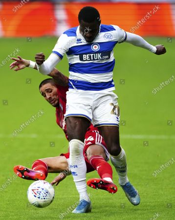Anthony Knockaert of Fulham is booked for this foul on Bright Osayi-Samuel of QPR