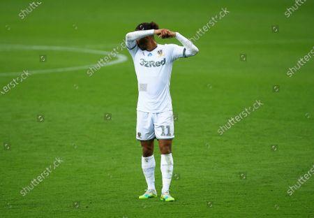 Tyler Roberts of Leeds United looks dejected