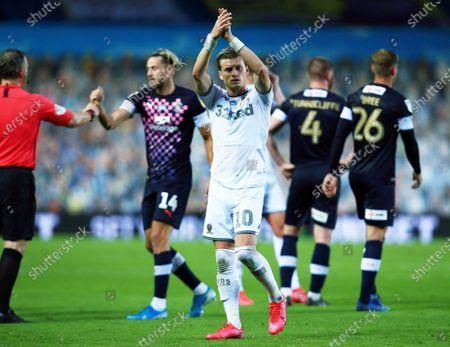 Ezgjan Alioski of Leeds United applauds at the end of the game