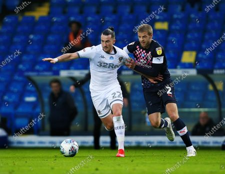 Jack Harrison of Leeds United and Martin Cranie of Luton Town
