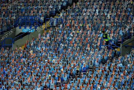 Cardboard cut outs of Leeds United fans inside the stadium