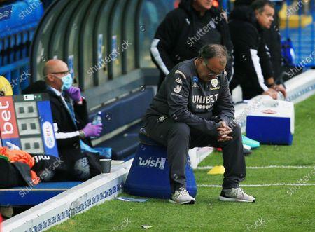 Leeds United manager Marcelo Bielsa looks thoughtful