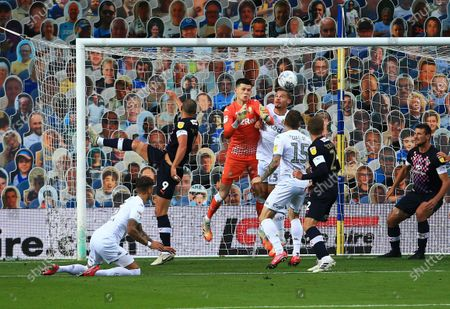 Leeds United goalkeeper Illan Meslier makes a save