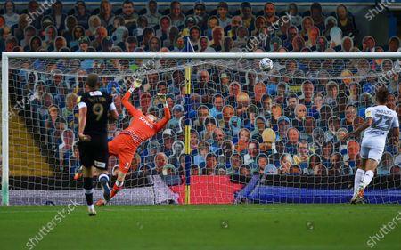 Leeds United goalkeeper Illan Meslier is beaten from a shot by Harry Cornick of Luton Town 0-1