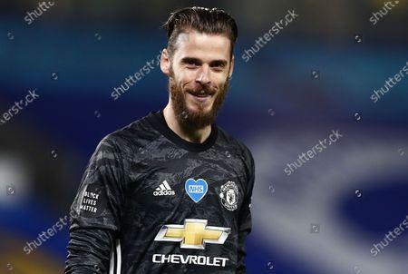 David De Gea of Manchester United smiles.