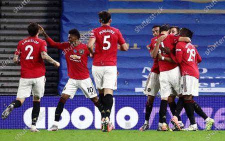 Bruno Fernandes of Manchester United celebrates scoring his sides third goal.