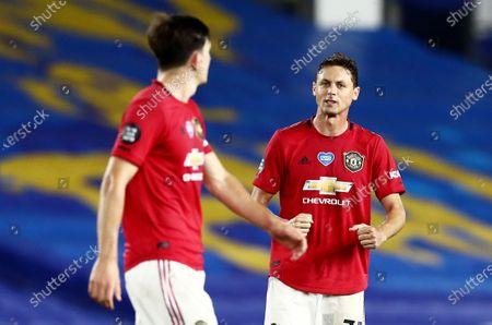 Nemanja Matic of Manchester United celebrates at full time.