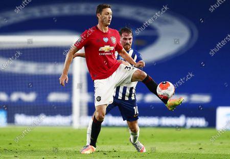 Nemanja Matic of Manchester United and Alexis Mac Allister of Brighton & Hove Albion.