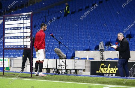 Bruno Fernandes of Manchester United is interviewed after the match.