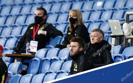 Manchester United Manager Ole Gunnar Solskjaer watches on.