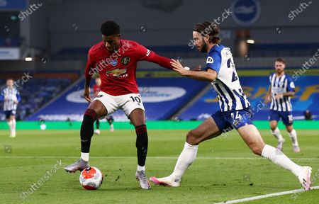 Marcus Rashford of Manchester United and Davy Propper of Brighton & Hove Albion.