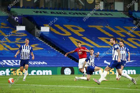 Mason Greenwood of Manchester United scores the opening goal.