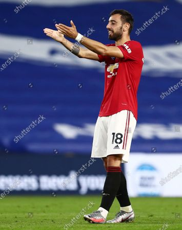 Bruno Fernandes of Manchester United celebrates scoring his sides second goal.