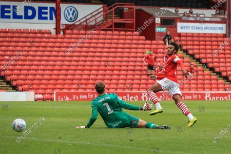 Jacob Brown (7) of Barnsley scores to make it 2-0 as he slots the ball past Christian Walton (1) of Blackburn Rovers