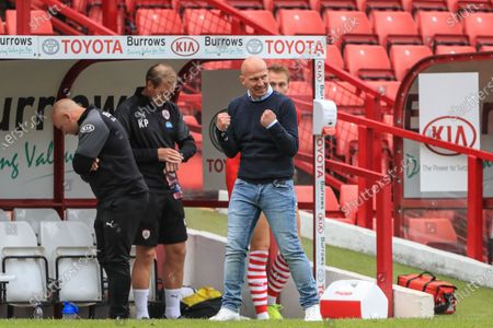Gerhard Struber manager of Barnsley FC shows his delight in punching the air as Barnsley win 2-0 in their fight for Championship survival