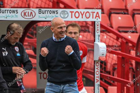 Gerhard Struber manager of Barnsley FC shows his delight ias he punches the air as Barnsley win 2-0 in their fight for Championship survival