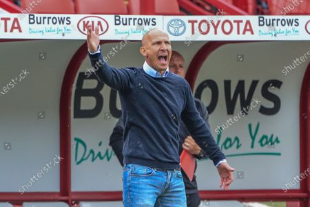 Gerhard Struber manager of Barnsley FC reacts during the game