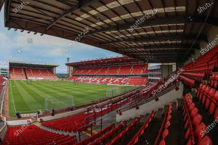 Empty stands at Oakwell for tonights Sky Bet Championship clash as games are played behind closed doors due to the Covid 19 pandemic