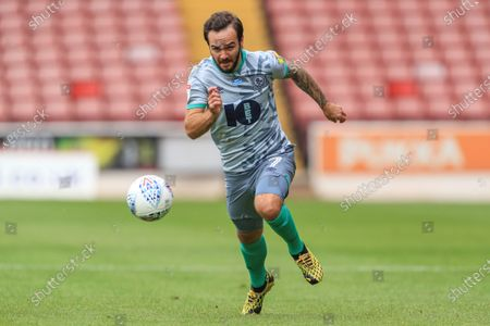 Adam Armstrong (7) of Blackburn Rovers breaks with the ball