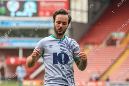 Adam Armstrong (7) of Blackburn Rovers reacts as his close range shot is saved by Jack Walton (13) of Barnsley