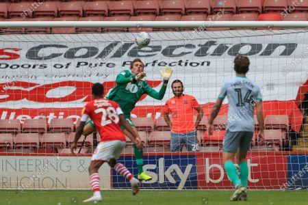 Christian Walton (1) of Blackburn Rovers saves a 20 yards shot from Alex Mowatt (27) of Barnsley