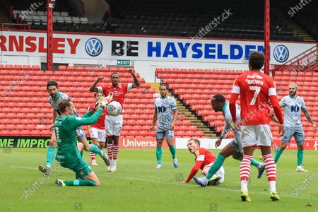 Christian Walton (1) of Blackburn Rovers saves Cauley Woodrow (9) of Barnsley's shot on goal