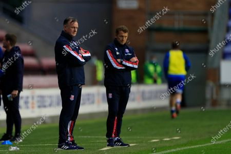 Stoke City manager Michael O'Neill looks disappointed on the sidelines as his team are beaten 3-0 by Wigan